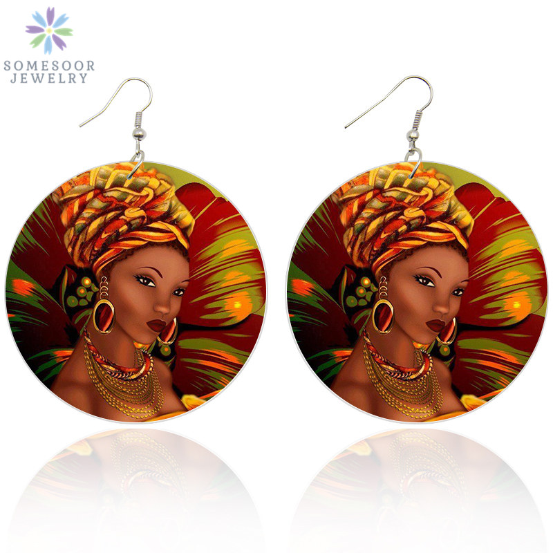 SOMESOOR Black Beauty Afro Art Wooden Drop Earrings African Flower Headwrap Woman 6cm Flat Round Handmade Dangle Jewelry Gifts