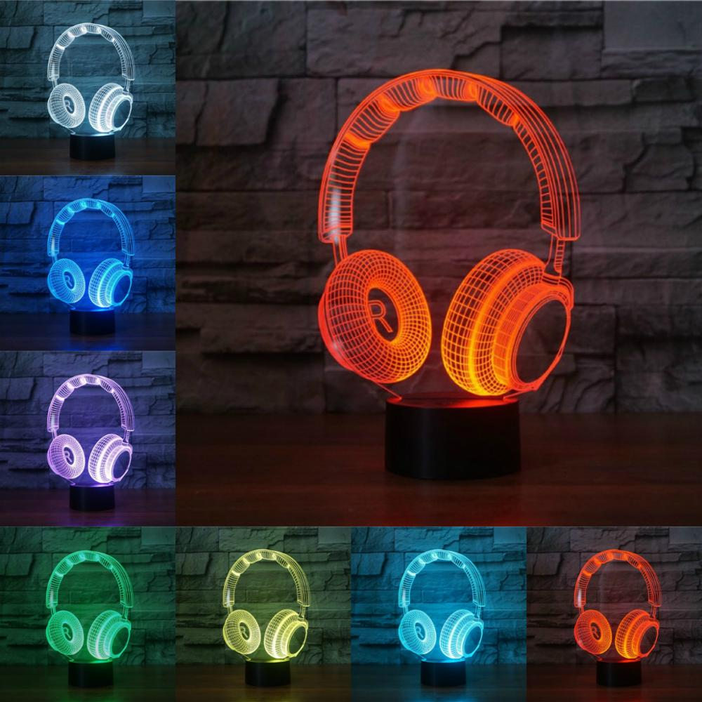 Hot Headphones Desk 3D Lamp Light Acrylic Plate LED Colorful USB Dry Battery Charging Black White Base Presents Decor