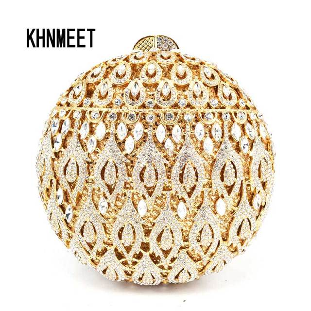 Round Clutch Luxury Gold Silver Crystal Diamond Day Clutches Evening Bag  Wholesale Rhinestone Bride Wedding Clutch Bag sc561 ed34ef336f3a