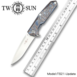 TWOSUN D2 blade folding knife Pocket Knife tactical knife Survival knives camping outdoor tool Ball bearing Titanium TS21-Update