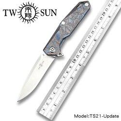 TWOSUN D2 mes zakmes Zakmes tactische mes Survival messen camping outdoor tool kogellager Titanium TS21-Update