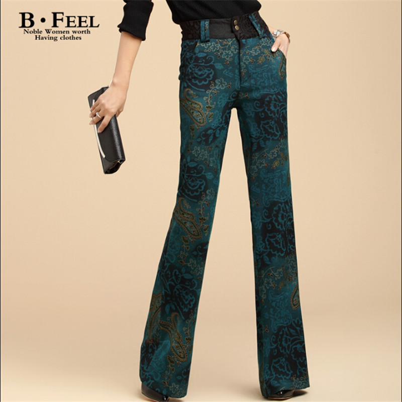 Fashion Floral Women Autumn And Winter Flare Pants Vintage Brand Female Long Loose Kam Fabric Trousers