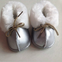 Baby First Walkers Warm Leather Walker Baby Shoes Newborn Shoes Fur Baby Boots Boy Girl Genius