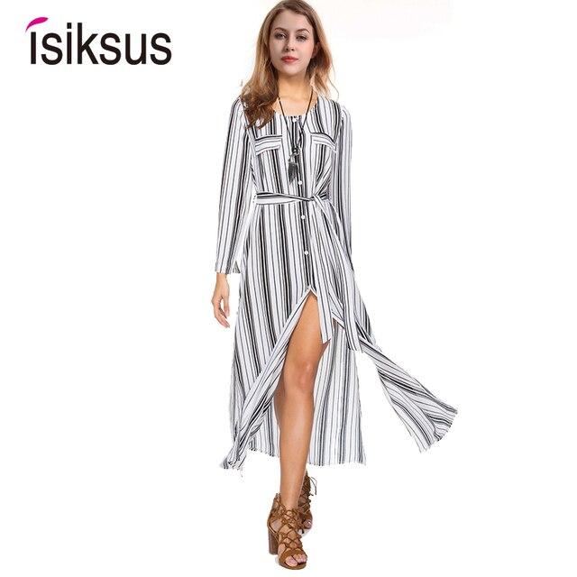 e6c5d68269 Isiksus Striped Maxi Dress Shirt Women Vintage Female Long Sleeve Summer  Casual Dresses Black Beach Dress for Women DR092