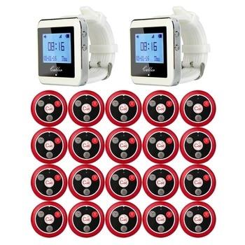 Retekess 2 reloj RECEPTOR + 20 llamando transmisor botón Llamada cuatro clave busca equipo de restaurante sistema F9408