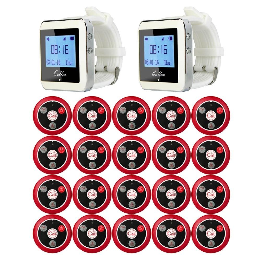 Retekess récepteur de montre-bracelet sans fil 2 + 20 bouton émetteur d'appel système de Restaurant téléavertisseur à quatre touches F9408