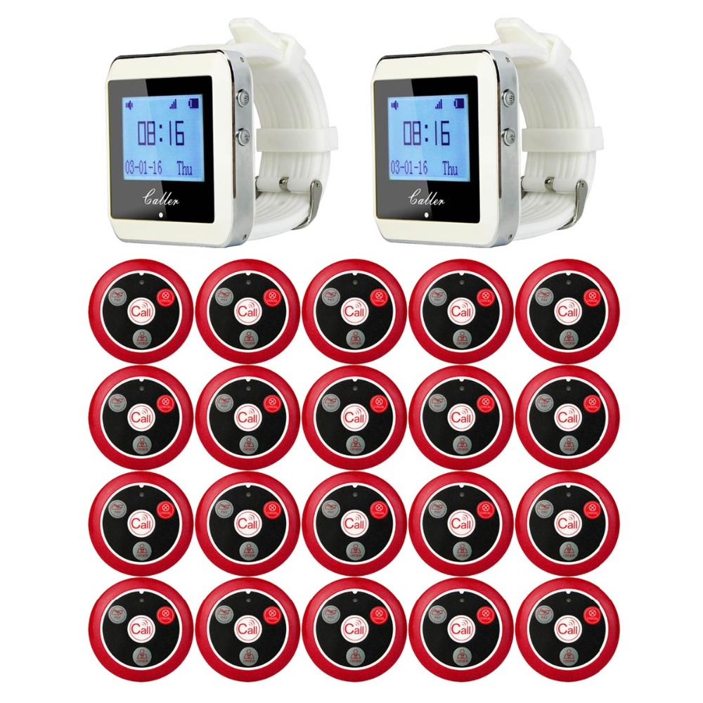 TIVDIO 433MHz Wireless 2 Wrist Watch Receiver+20 Calling Transmitter Button Call Pager Four-key Pager Restaurant Equipment F3285 restaurant pager wireless calling system 1pcs receiver host 4pcs watch receiver 1pcs signal repeater 42pcs call button f3285c
