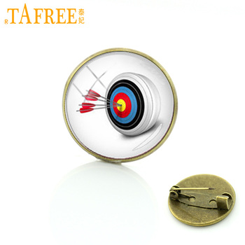 TAFREE Steam Punk archery brooches Wholesale Charms archer fans badge casual sports glass metal pins jewelry T520 image