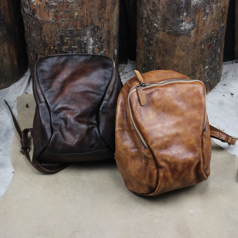 New Design Original Retro Brown Unisex Men Women Vintage 100% Guarantee Real Genuine Cow Leather Laptop Backpack Travel Bags цена