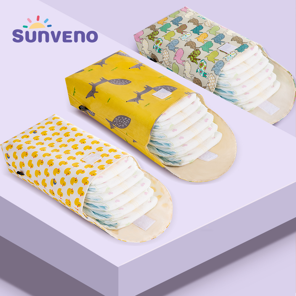 Sunveno Storage-Bag Diaper-Organizer Travel Prints Baby Mummy Reusable Waterproof Fashion