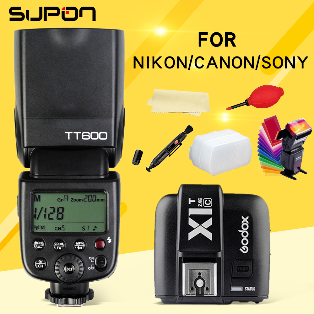 Godox TT600 TT600S Flash 2.4G Wireless  1/8000s/ Speedlite+X1T-C/N/S 2.4G Wireless Flash TTL Trigger for Canon Nikon Sony yn e3 rt ttl radio trigger speedlite transmitter as st e3 rt for canon 600ex rt new arrival