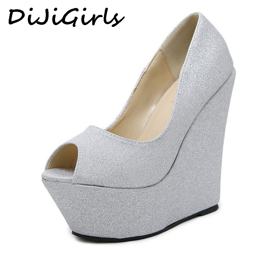 DiJiGirls Gold silver Glitter Sequined Wedge Platform High Heels Wedding Shoes Party Prom Sandals Women Fetish Shoes Dress Pumps phyanic bling glitter high heels 2017 silver wedding shoes woman summer platform women sandals sexy casual pumps phy4901