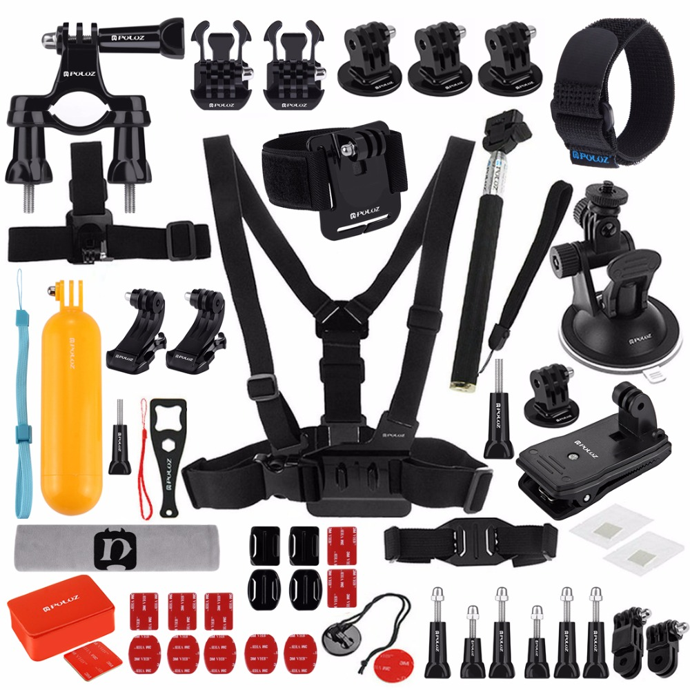 53 in 1 Accessory Total Ultimate Combo Kit for GoPro HERO7/6 /5 /5 Session /4 Session /4 /3+ /3 /2 /1 Xiaoyi Other Action Cam набор для замены защитной линзы в камере session gopro arlrk 001 lens replacement kit