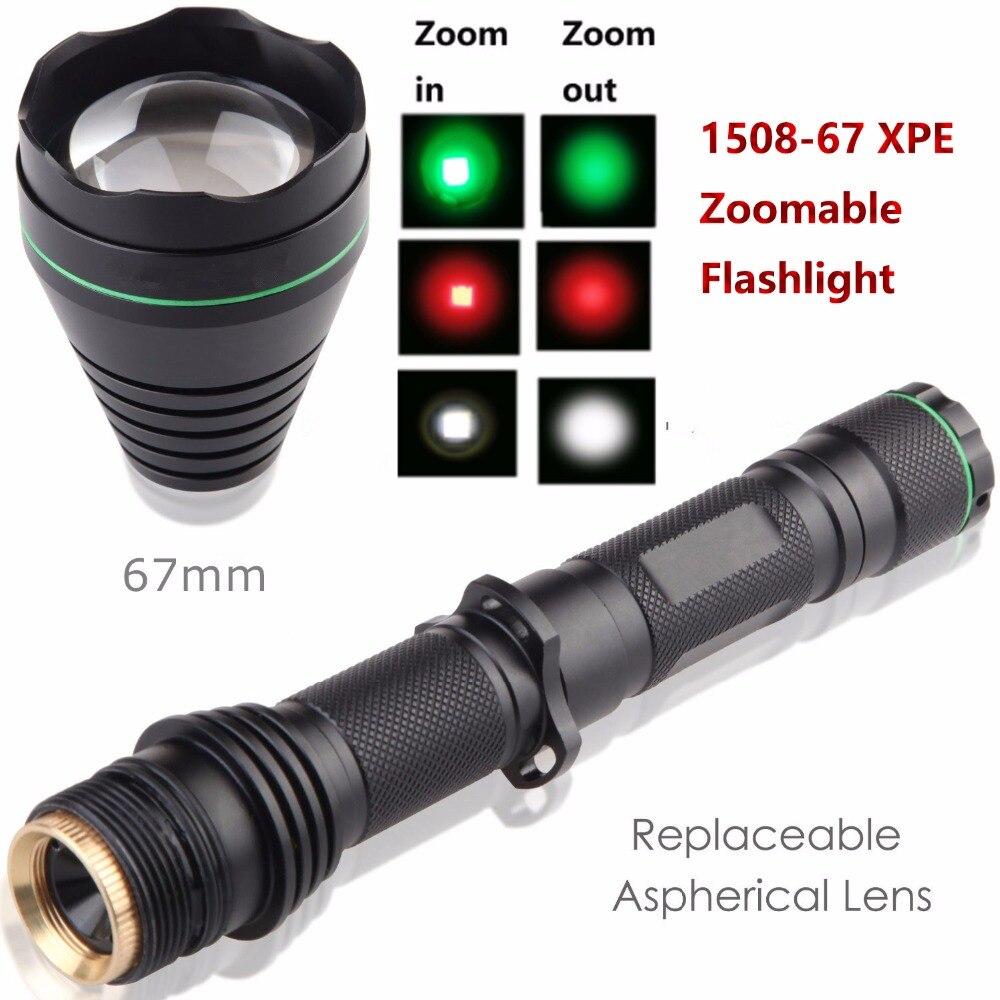 UniqueFire 1508-67 XPE LED torche Zoomable torche longs coups 3 Modes lampe de chasse pour le Camping,
