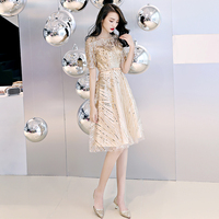 Champagne Short Prom Dress Evening Prom Formal Party Dress Elegant Boat Neck Short Sleeve Knee Length A line Sequin Prom Dresses