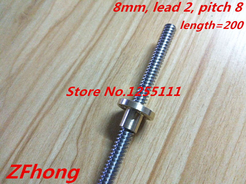3D Printer THSL-200-8D Lead Screw Dia 8MM Pitch 2mm Lead 8mm Length 200mm with Copper Nut flsun 3d printer big pulley kossel 3d printer with one roll filament sd card fast shipping