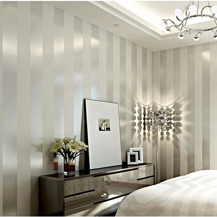 modern sliver and ivory white striped non woven wallpaper. Black Bedroom Furniture Sets. Home Design Ideas