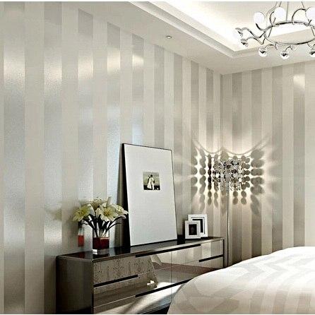 Moderno sliver e avorio bianco a righe carta da parati non for Carta da parati per soggiorno moderno