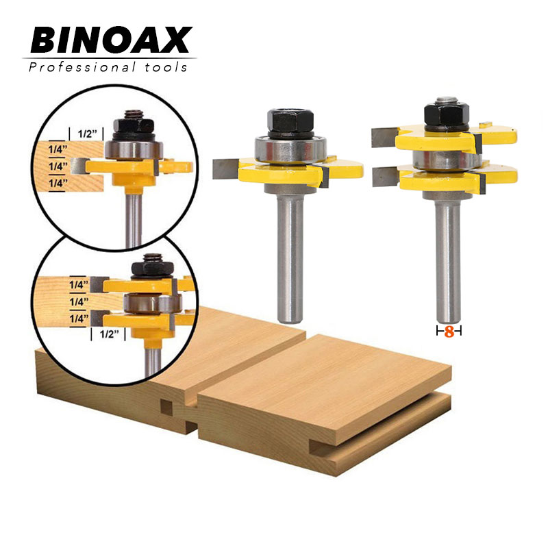 2 Bit Tongue And Groove Router Bit Set Wood Milling Cutter -8mm Shank