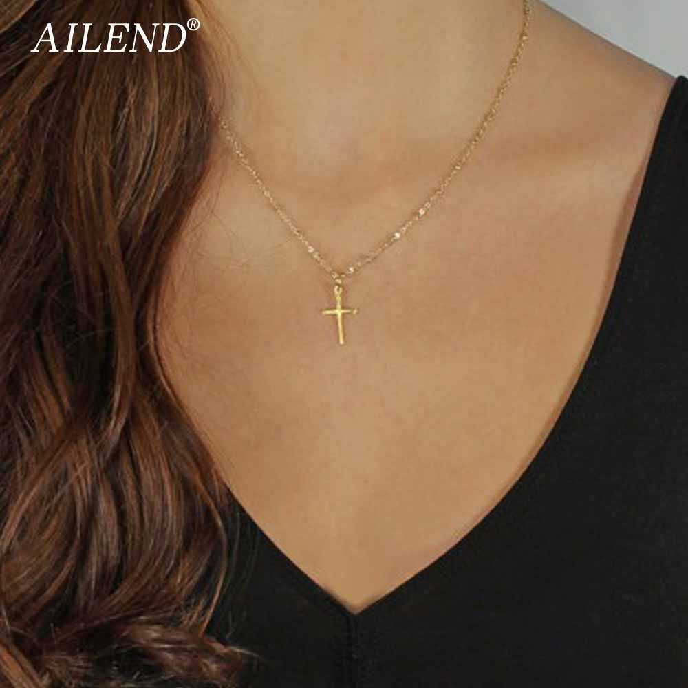 AILEND 2017 Summer Gold Chain Cross Necklace Small Gold Cross Religious Jewelry Women's necklace