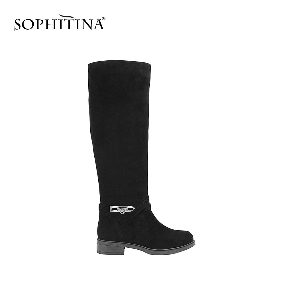 SOPHITINA Brand Knee High Boots Low Heels Metal Decoration Handmade Genuine Leather Boots Solid Elegant Party Women Shoes B34