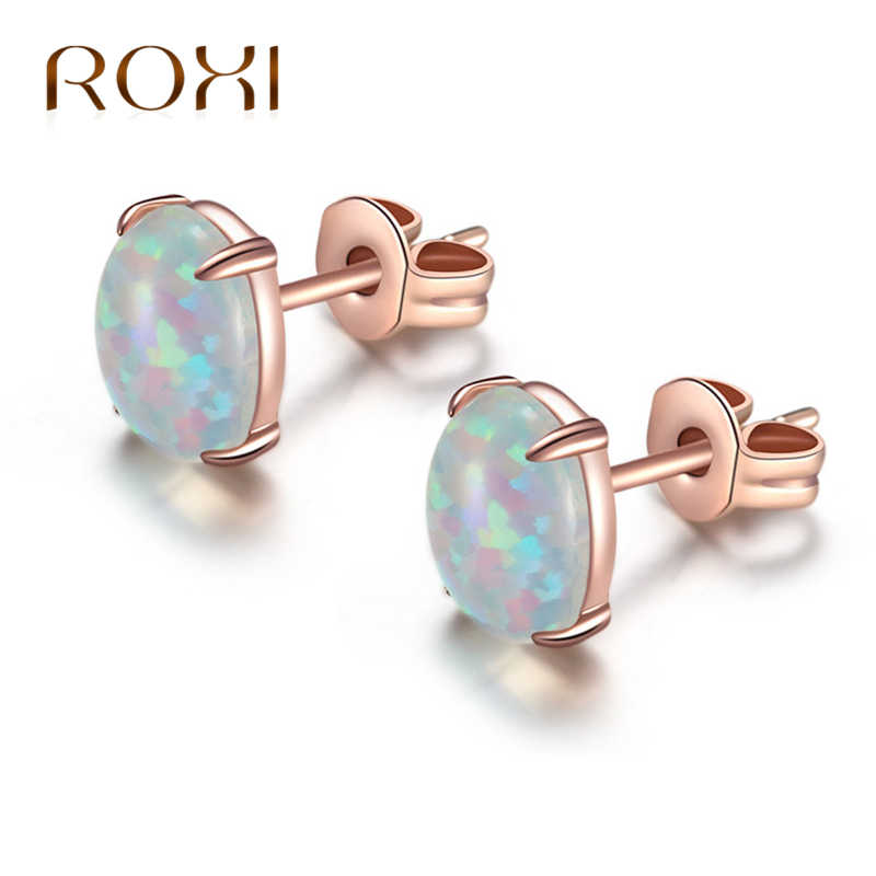 ROXI 6*8 MM Oval Colorful/Blue Fire Opal Stud Earrings For Women White /Rose Gold Jewelry Cute Earrings Ear boucle d'oreille