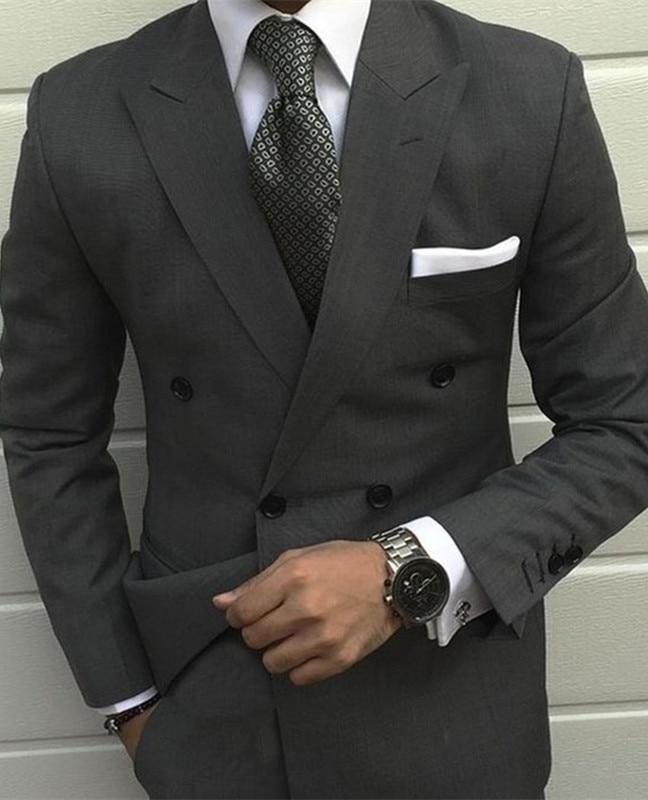 959 Latest kingsman Smoking Grey Jackets men wedding suit Prom Tuxedo Slim Fit 2 Pieces Custom Groom mens suits terno masculino