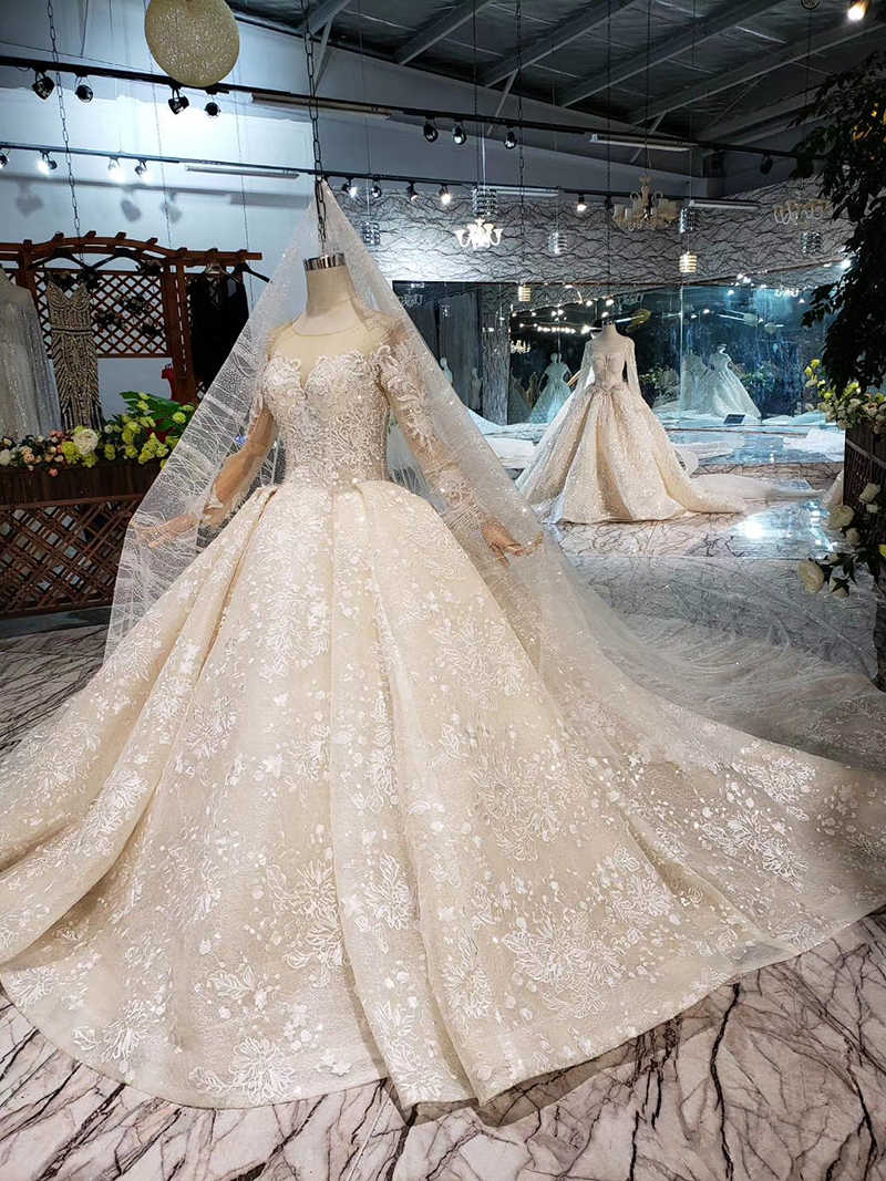 LS20479 robe de mariée Simple vintage avec voile de mariage à manches longues bouton dos o cou champagne robe de mariée en dentelle robe de mariée