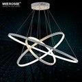 Modern led pingente luzes pingente branco lâmpada acrílico anel círculo lampadario lustre iluminação para casa sala de estar pendurado luz