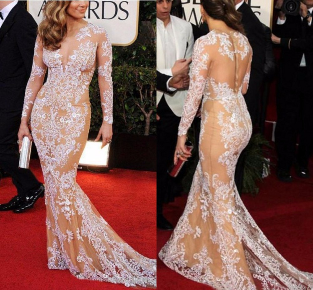 Long sleeve designer celebrity red carpet mermaid formal - Designer red carpet dresses ...