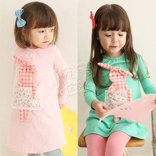2014 spring plaid rabbit girls clothing baby child long-sleeve dress qz-0400