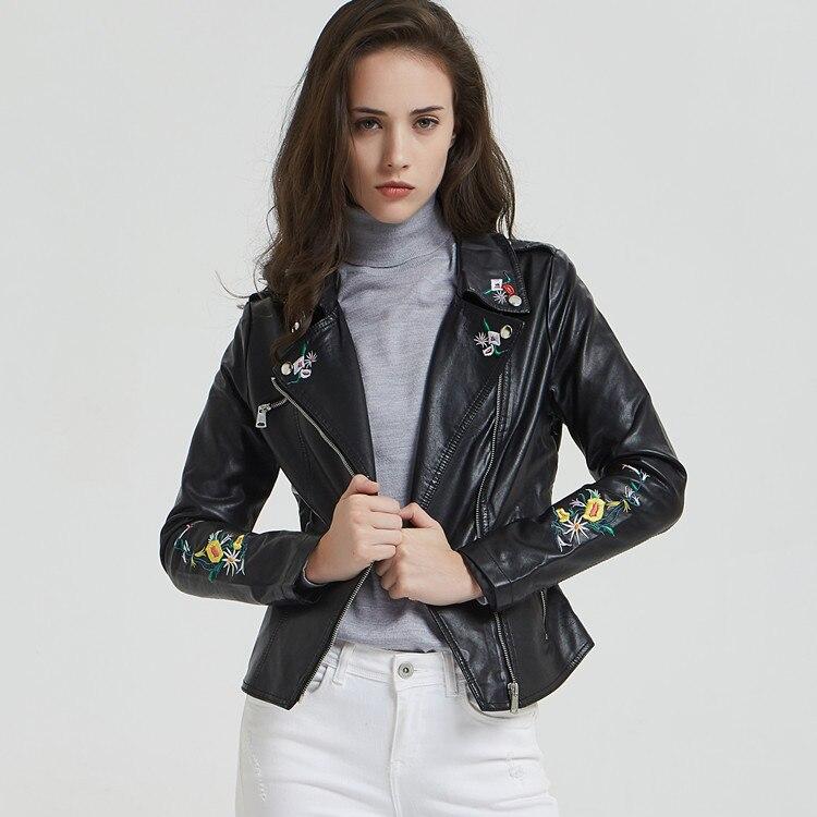 Spring Women Black PU   Leather   Embroidered Jacket Slim Short Floral Decoration Girls Moto Coat Female Motorcycle Biker Jacket Hot