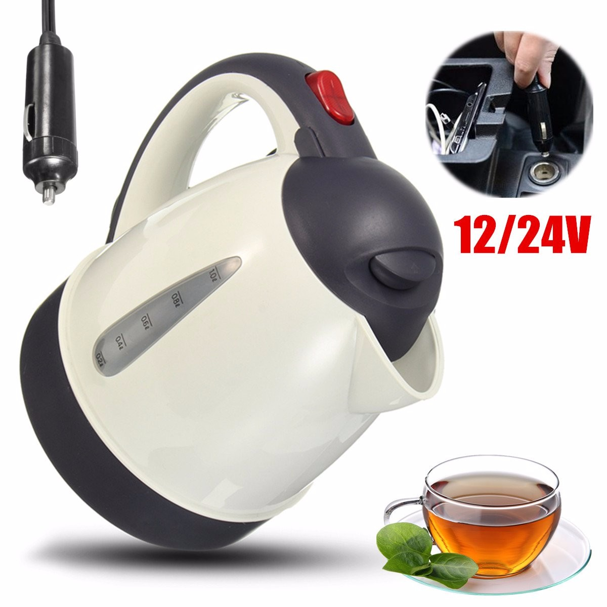 High Grade 1000ml Car Portable Water Heater Travel Mains Kettle Auto 12v 24v For Tea Coffee 304 Stainless Steel In Heating Fans From Automobiles