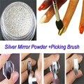 1 Unid Silver Nail Art Pigmento de Cromo Espejo de Plata En Polvo Con El Polvo Picker Pen Manicura DIY
