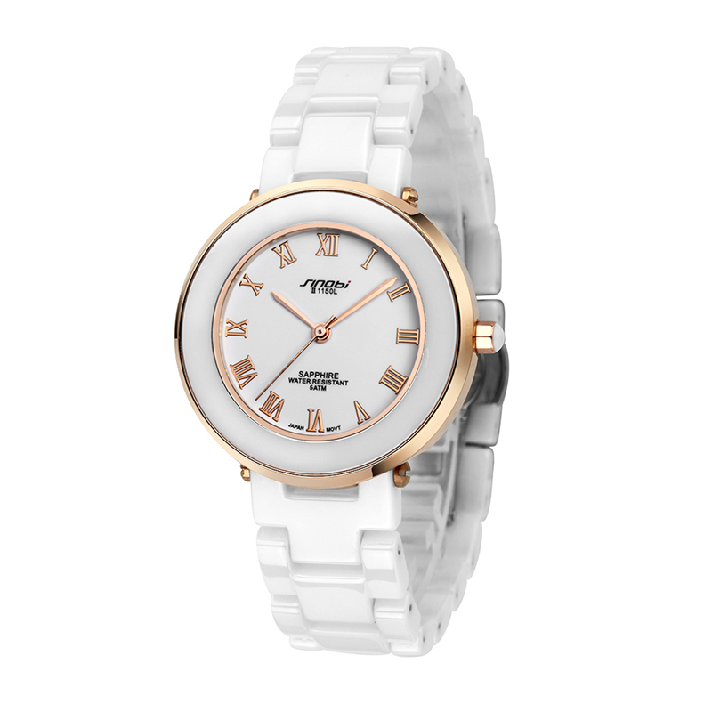 SINOBI Top Brand Luxury Ceramic Analog Quartz-Watch Women Watches Gold Watch Lady Hour montre femme relogio feminino reloj mujer fuers ios android app touch keypad