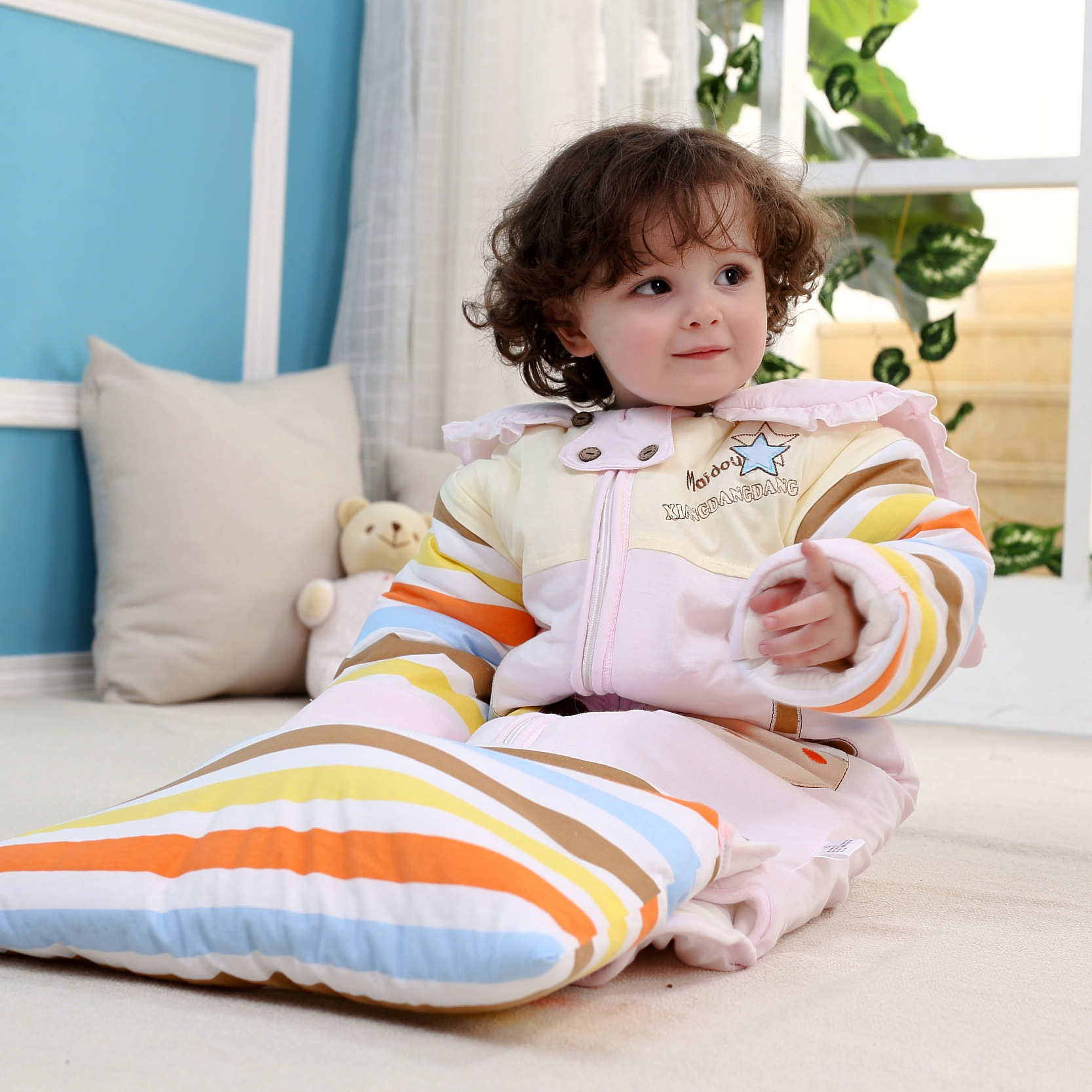 2016 New Baby Sleeping Bag Autumn Winter Cotton Thickened Detachable Sleeve Newborn Infant Sleeping Sack Anti Kick Baby Bags new baby sleeping bag soft cotton autumn child sleep suit u collar baby sleepsacks dogs clothes autumn winter