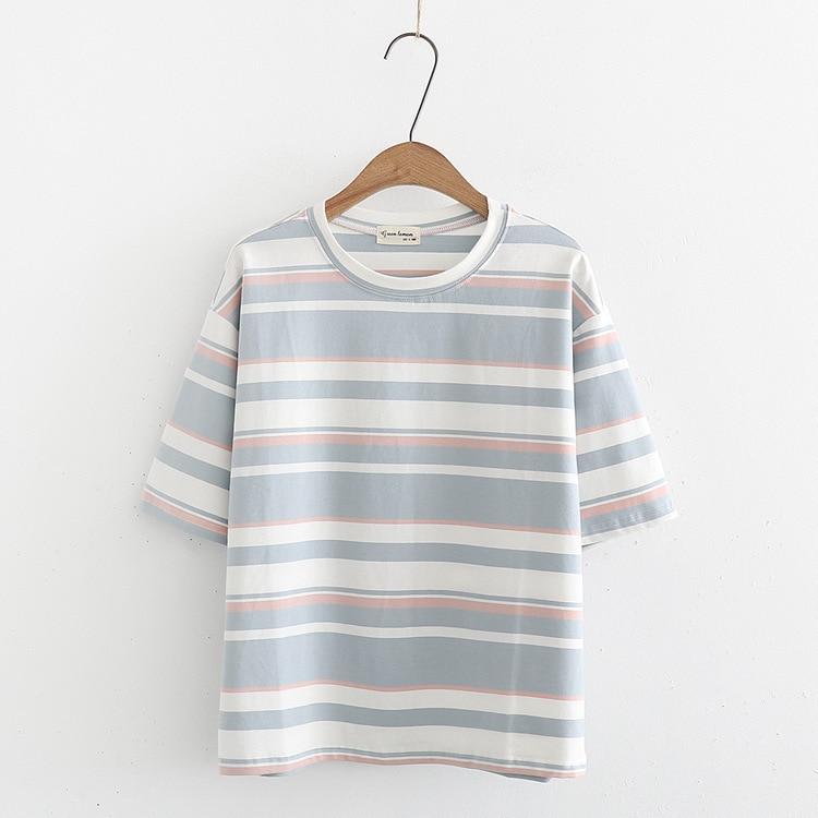 2018 neue frauen kleidung T-Shirts kurzen ärmeln schüler lose fitting cartoon design frische dünne sweatshirt