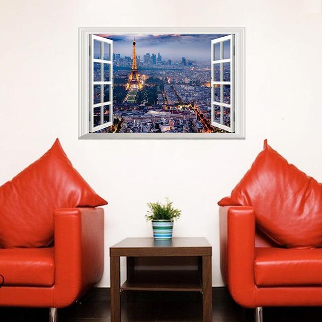 40*60 см 3D Window Город Париж Стикер Стены Эйфелева Башня Наклейки На Стены Home Decor Night Lights Архитектура Обои гостиная