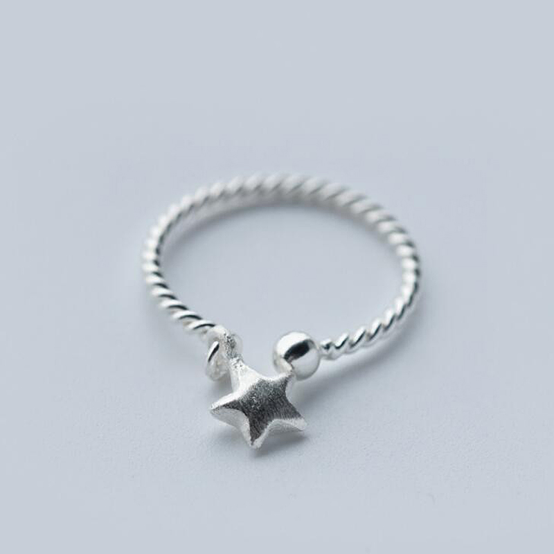 Hot Item 1Pc Sterling Silver Jewelry Star Ring,Adjustable Stars ...