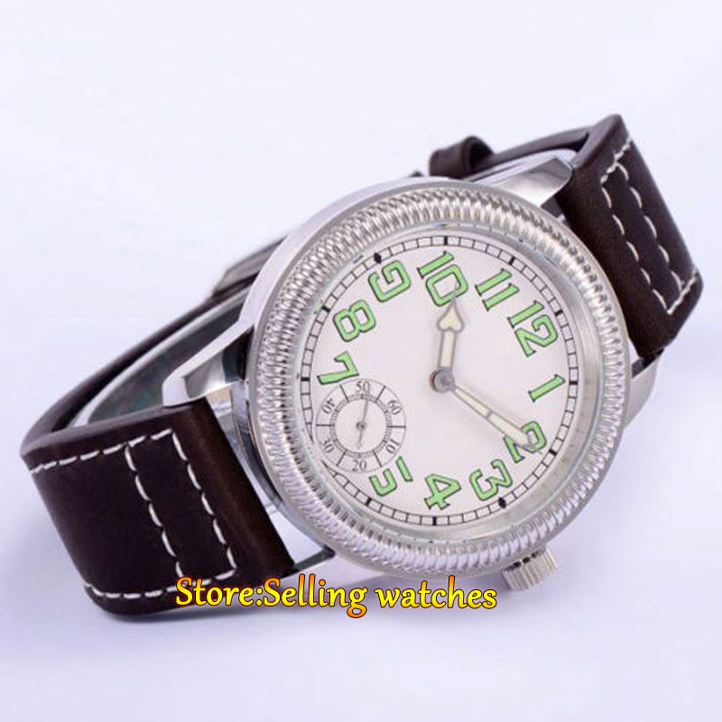 Parnis watch 44mm white dial luminous 6498 mechanical hand winding movement Men's watch 44mm black sterile dial green marks relojes 6497 mens mechanical hand winding watch luminous armbanduhr cm164bk