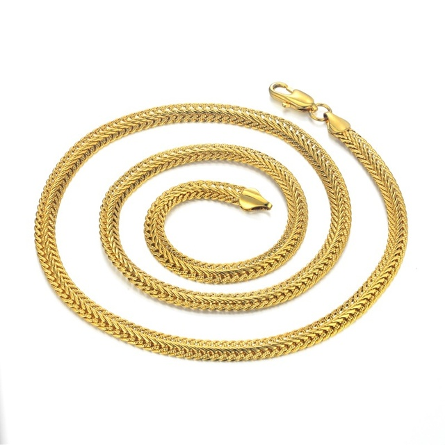 Men's Hip Hop Gold Color Chain homme Women Snake Chain Necklace For Men, Wholesale Collares 6MM Chain Jewelry