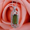 New Fantasia Emerald Cut 5x11mm Natural Turmalina Verde Pingente de Diamante em Ouro Branco 18kt WP39