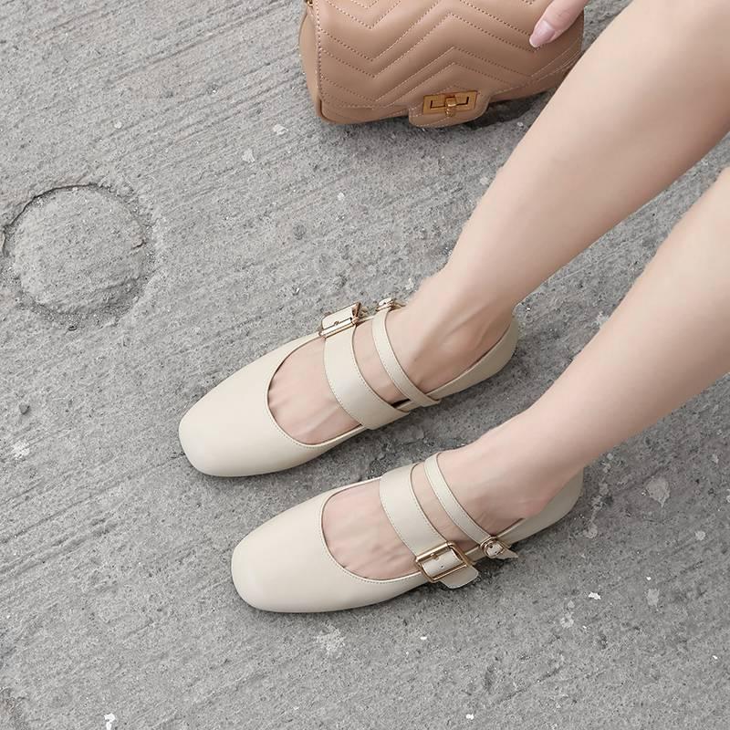 Style De Ballet rose Concise Vache Vocation Avec Réel Boucle Conduite Plat gris Fille Bracelet L77 Mocassins Doux Jolie Beige Chaussures En Lenkisen Cuir B5FZZ