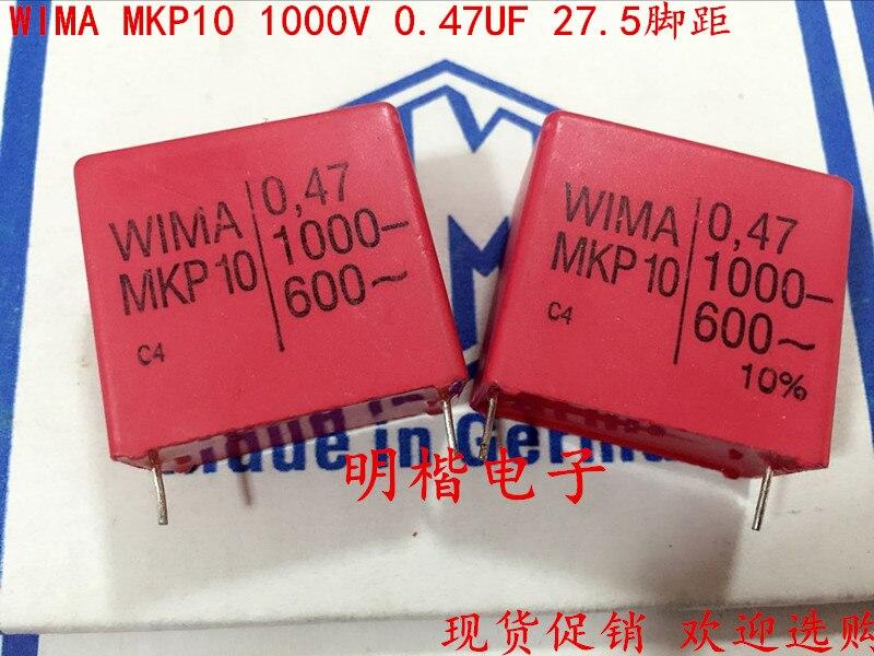 2019 Offre Spéciale 10 pcs/20 pcs Allemagne WIMA MKP10 1000 V 0.47 UF 470NF 1000 V 474 P: 27.5mm Audio condensateur livraison gratuite