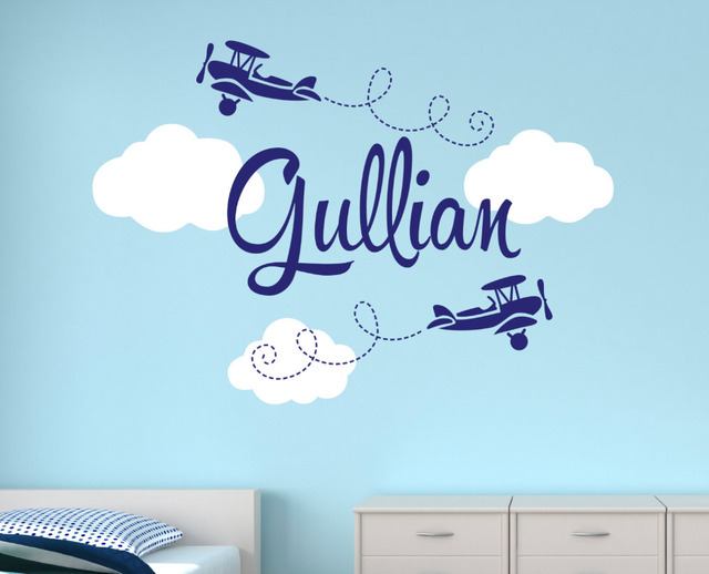 Customize Name Airplane Large Wall Decals For Boys Bedroom Kids - Baby name wall decals