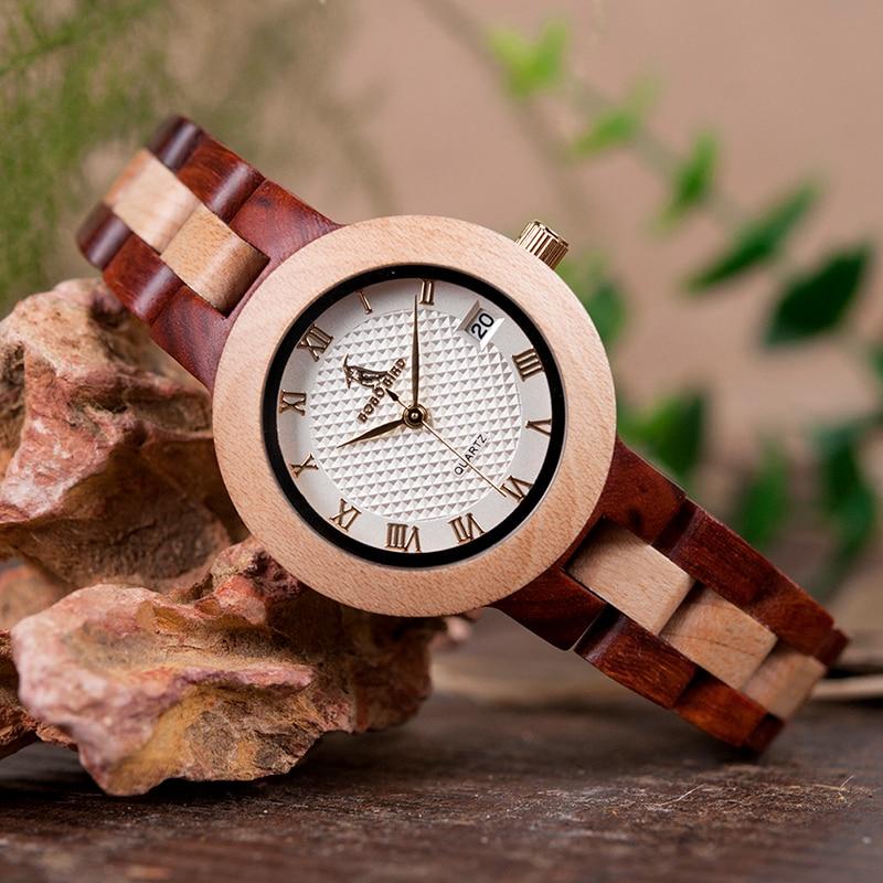 BOBO KUŞ İki tonlu Timepieces Ahşap İzle Kadınlar için Marka - Kadın Saatler - Fotoğraf 5