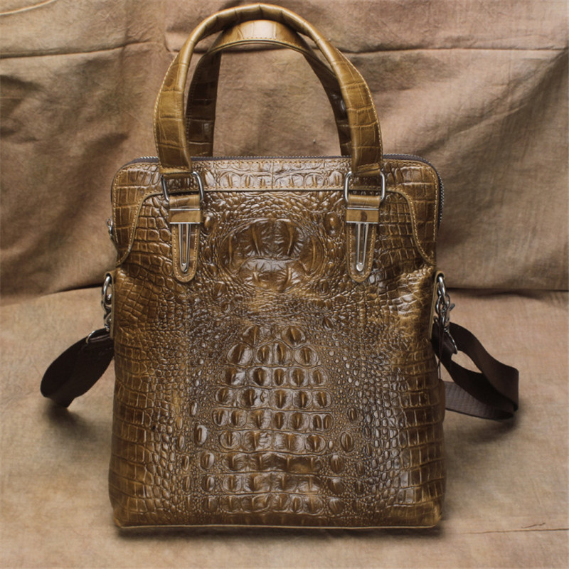 Men's handbags leather oil wax skin crocodile pattern shoulder slung small square head layer cowhide bag the imported oil wax pattern leather singel shoulder satchel small men s messager bag retro 7 inch for outdoor tourism