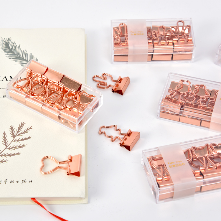 Love Rose Gold Long Tail Lovely Bill Clip Swallow Tail Clip Cute Office Accessories Binder Clips Metal Clips Accessories Office