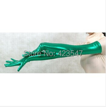 Free Shipping Green Shiny Metallic Accessories Zentai Gloves Party Halloween Adult Costumes