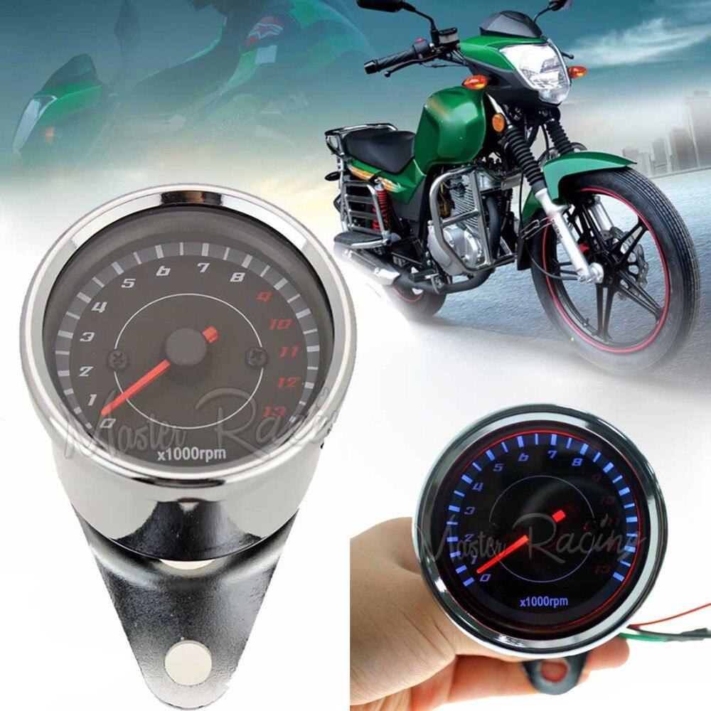 Backlight LED Light 13000 RPM Motorcycle Tachometer Tacho Gauge Speedometer 12V